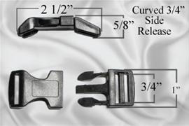 "3/4"" Curved Plastic Side Release Buckles"